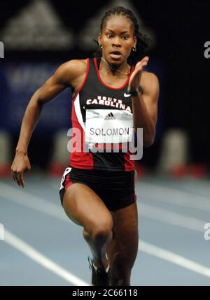 New York, United States. 03rd Feb, 2006. South Carolina sophomore Shalonda Solomon, a Long Beach Poly High graduate, placed fourth in the college women's 60 meters in the 99th Millrose Games at Madison Square Garden in New York City, N.Y. on Friday, February 3, 2006. Photo via Credit: Newscom/Alamy Live News