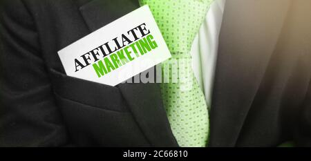 Affiliate Marketing words on card in upper suit pocket. Business concept - Stock Photo