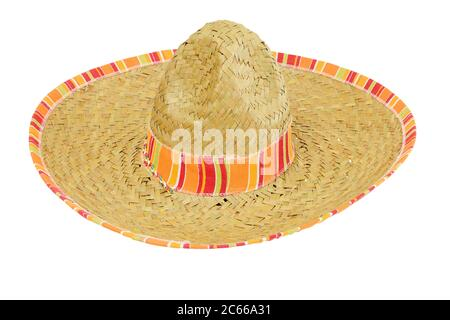 Serape Straw Sombrero isolated on a white background - Stock Photo