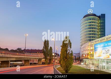 High-rise building of the Mercedes-Benz branch at Donnersberger Brücke, Schwanthalerhöhe, Munich, Upper Bavaria, Bavaria, southern Germany, Germany, Europe - Stock Photo
