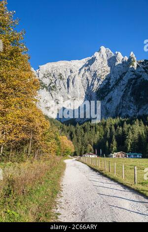 Scharitzkehlalm with Hoher Göll (2,522 m), Berchtesgaden, Berchtesgadener Land, Upper Bavaria, Bavaria, Southern Germany, Germany, Europe - Stock Photo