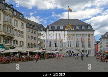 Market Square and Town Hall, Bonn, North Rhine-Westphalia, Germany - Stock Photo