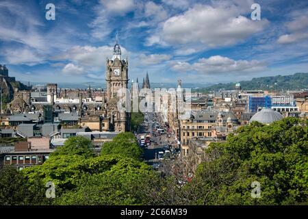 Edinburgh, Scotland - May 13, 2019:  Aerial view of Princes Street,  one of the major thoroughfares in the city of Edinburgh. - Stock Photo