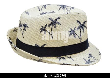Palm Tree Straw Fedora Hat isolated on white - Stock Photo
