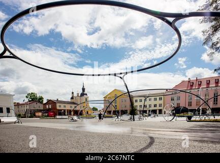 Võru, Võrumaa/Estonia-06JUL2020: Main city square of Võru in Estonia, Europe. Leisure area. Voru city.