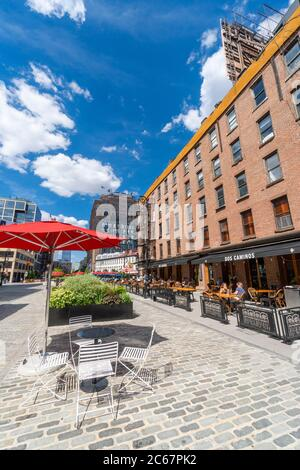 After Phase Two of Reopening Restaurants for COVID-19 in Meatpacking District - Stock Photo