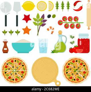 Set of Seafood Pizza icons flat vector - Stock Photo