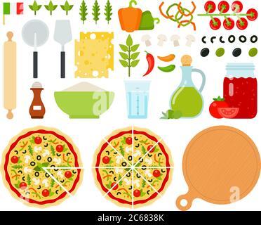 Set of Italian Pizza icons flat vector - Stock Photo