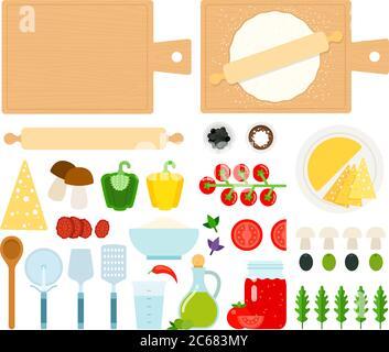 Set of Pizzeria instrument icons flat vector - Stock Photo