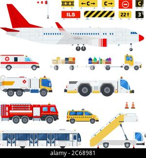 Airport transportation and Road signs at the airport vector flat material design set. Ambulance, fire engine, ladder on wheels, passenger bus, taxi - Stock Photo