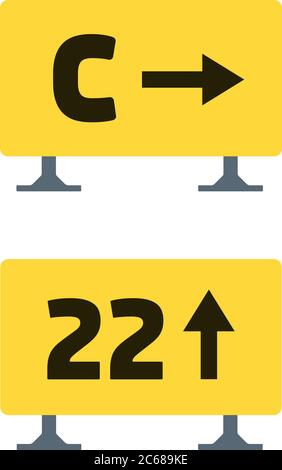 Signs on the runway vector flat material design isolated object on white background. - Stock Photo