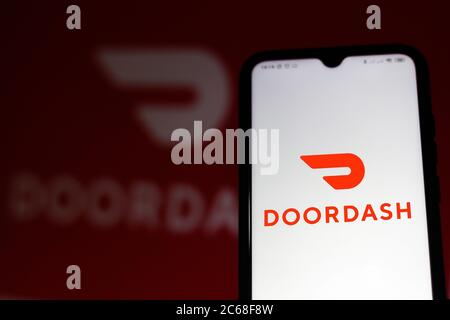 Brazil. 7th July, 2020. In this photo illustration the DoorDash logo seen displayed on a smartphone. Credit: Rafael Henrique/SOPA Images/ZUMA Wire/Alamy Live News - Stock Photo