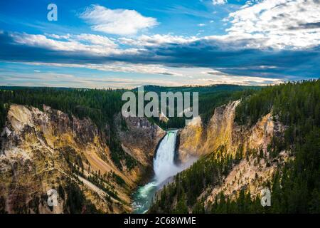 The lower fall in Yellowstone National Park, Wyoming, USA.