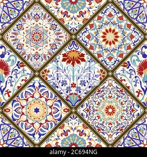 Seamless ceramic tile with colorful patchwork. Vintage multicolor pattern in turkish style. Hand drawn background. Arabic, Indian, Ottoman motifs - Stock Photo