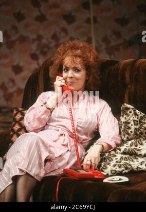 Alison Steadman (Mari Hoff) in THE RISE AND FALL OF LITTLE VOICE by Jim Cartwright at the  Cottesloe Theatre, National Theatre (NT), London SE1 16/06/1992  music: Terry Davies design: William Dudley lighting: Mick Hughes movement: Jane Gibson director: Sam Mendes - Stock Photo
