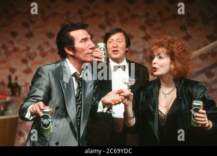 l-r: Pete Postlethwaite (Ray Say), George Raistrick (Mr Boo), Alison Steadman (Mari Hoff) in THE RISE AND FALL OF LITTLE VOICE by Jim Cartwright at the  Cottesloe Theatre, National Theatre (NT), London SE1 16/06/1992  music: Terry Davies design: William Dudley lighting: Mick Hughes movement: Jane Gibson director: Sam Mendes - Stock Photo