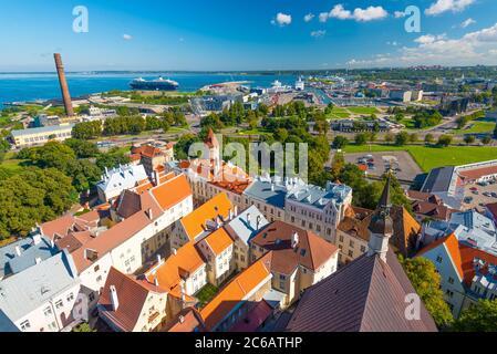 Tallinn, Estonia Historic Skyline of Toompea Hill. - Stock Photo