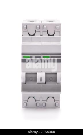 Front view of automatic circuit breaker isolated on white - Stock Photo