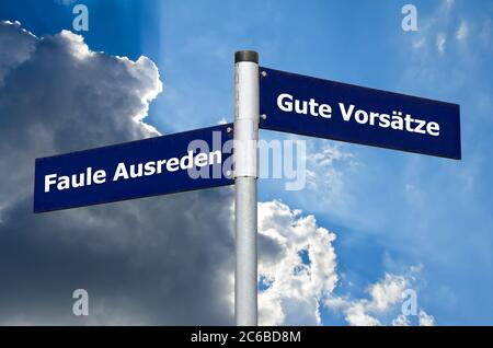 Street sign symbolizing choice between 'Faule Ausreden' and 'Gute Vorsätze' (German caption) - Stock Photo