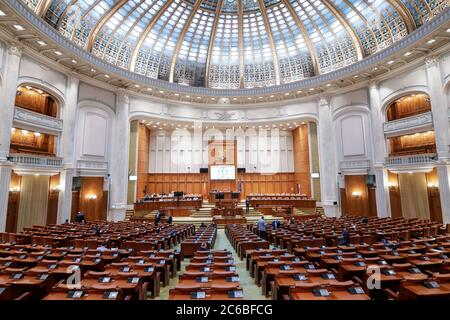 Bucharest, Romania - July 8, 2020: Romanian members of parliament attend a Parliament's session in the Chamber of Deputies hall of the Palace of Parli - Stock Photo