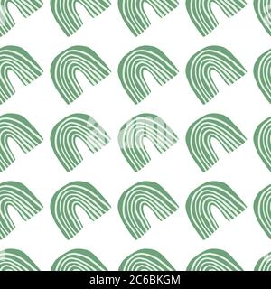 Geometric rainbow shapes seamless pattern on white background. Abstract elements endless wallpaper. Decorative backdrop for fabric design, textile print, wrapping, cover. Trendy vector illustration. - Stock Photo