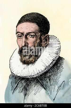 John Napier (or Neper), discoverer of logarithms. Hand-colored woodcut - Stock Photo