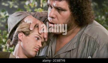 USA. Andre the Giant and Cary Elwes  in a scene from the ©Twentieth Century Fox movie:  The Princess Bride (1987) . Plot: While home sick in bed, a young boy's grandfather reads him the story of a farmboy-turned-pirate who encounters numerous obstacles, enemies and allies in his quest to be reunited with his true love.   Ref: LMK110-J6628-010720 Supplied by LMKMEDIA. Editorial Only. Landmark Media is not the copyright owner of these Film or TV stills but provides a service only for recognised Media outlets. pictures@lmkmedia.com