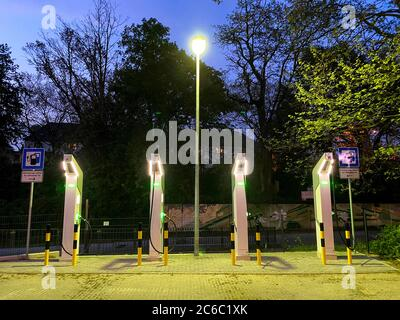 Electric filling station, charging station for electric cars, fast charging stations, Essen, Germany,
