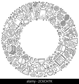 Set of Science cartoon doodle objects, symbols and items - Stock Photo