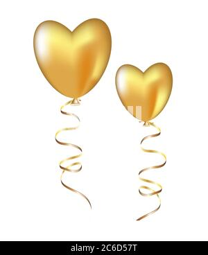 Golden balloon in the shape of a heart. Isolated on a white background. Can be used to create cards, banners, flyers for Valentine's Day. - Stock Photo