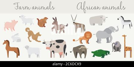 Cute african and farm animals set isolated on white