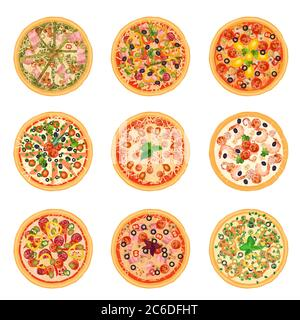 Different pizza food icons set collection isolated. - Stock Photo