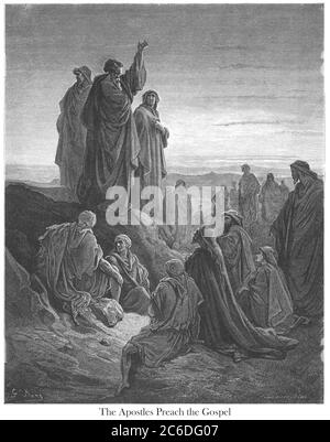 The Apostles Preaching the Gospel [Acts 2:32-33] From the book 'Bible Gallery' Illustrated by Gustave Dore with Memoir of Dore and Descriptive Letter-press by Talbot W. Chambers D.D. Published by Cassell & Company Limited in London and simultaneously by Mame in Tours, France in 1866 - Stock Photo
