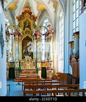 Laufenburg, AG / Switzerland - 4 July 2020: interior view of the St. Johann church in Laufenburg with the high altar