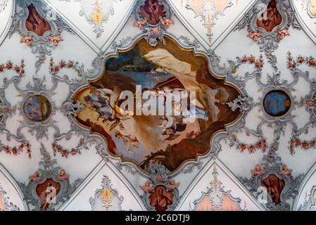 Laufenburg, AG / Switzerland - 4 July 2020: interior view of the St. Johann church in Laufenburg with the ceiling paintings