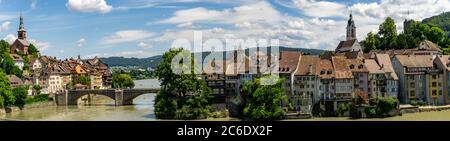 Laufenburg, AG / Switzerland - 4 July 2020: panorama view of the idyllic border town of Laufenburg on the Rhine in northern Switzerland