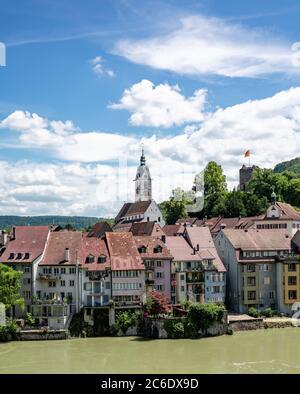 Laufenburg, AG / Switzerland - 4 July 2020: view of the idyllic border town of Laufenburg on the Rhine in northern Switzerland