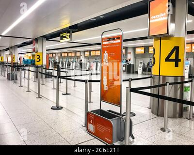 Deserted London Gatwick Airport - which is due to close it's North Terminal, pictured, from the 1st of April - unsure of when it will reopen.  Easyjet have today grounded its fleet due to the Covid-19 Coronavirus pandemic. on 30 March 2020 in England - Stock Photo