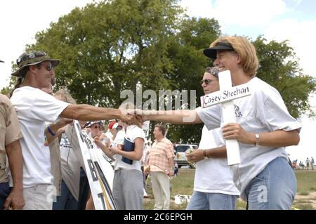 Crawford, Texas August 12, 2005:  Anti-war protester Cindy Sheehan at the protest site known as 'Camp Casey' where about 100 protesters against the war in Iraq are holding a vigil during U.S. President Bush's August vacation.  ©Bob Daemmrich/ - Stock Photo
