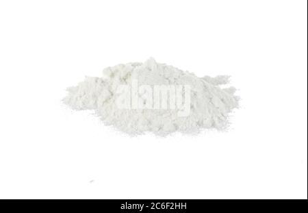 Pile of wheat flour isolated on white background. - Stock Photo