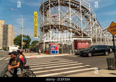 The closed Cyclone Roller Coaster in Coney Island in Brooklyn in New York on the long Independence Day weekend, Sunday, July 5, 2019.  (© Richard B. Levine) - Stock Photo