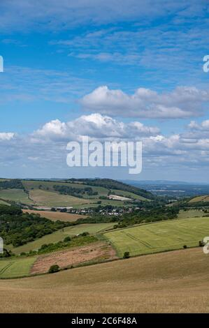 View along the South Downs Way from Clayton looking towards Devils Dyke north of Brighton in East Sussex UK