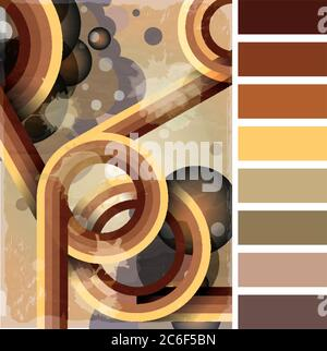 Retro poster template with bubbles, circles, lines and paint splashes. 1960s, 70s style grunge background. In a colour palette with complimentary colo - Stock Photo
