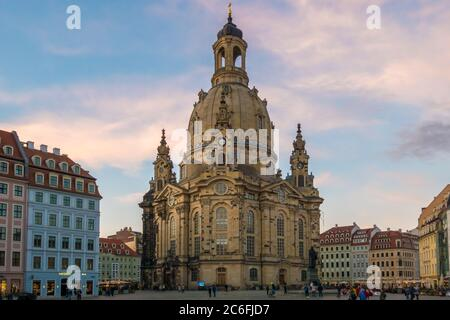 Dresden, Germany - May 18th, 2019: The rebuilt Dresdner Frauenkirche (Church of Our Lady) in the oldtown at an enjoyable springtime evening.