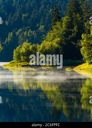 Green forest beautiful pretty majestic stunning lake Mrzla vodica in Croatia Europe - Stock Photo