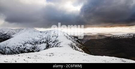 View from Carrauntoohil mountain of the MacGillycuddy's Reeks mountain range, Kerry, Ireland - Stock Photo