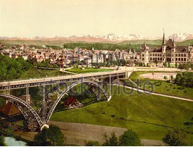 View from Hotel Bellevue, Bern, Switzerland 1890. - Stock Photo