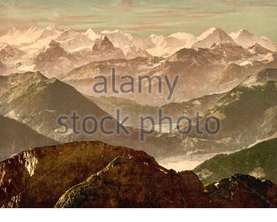 Bernese Alps from Pilatus, Bernese Oberland, Switzerland 1890. - Stock Photo