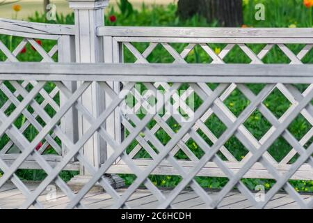 Close up of wooden bridge in the park - Stock Photo