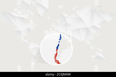 Chile map with flag in contour on white polygonal World Map. Vector Illustration. - Stock Photo